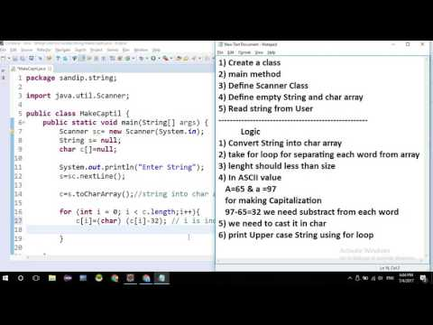 String Capitalization in Java without predefined Methods.Lower to Upper Case in Java Logical String