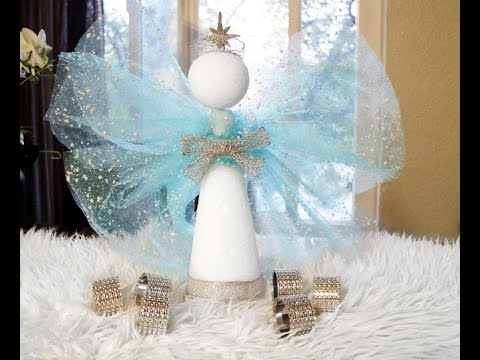 DIY ANGEL CHRISTMAS TREE TOPPER/ CENTERPIECE, AND ELEGANT NAPKIN RINGS