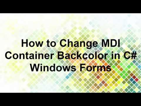 How to change the background color for an MDI parent form in Visual C#