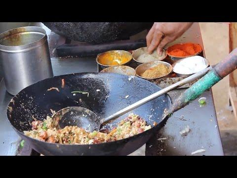 chicken fried rice preparation  - Balaji chicken stall Indian street food