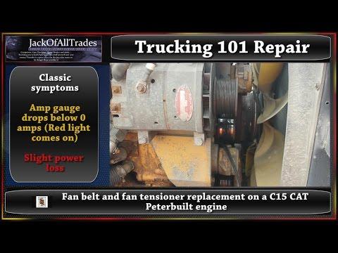 Trucking 101 Fan belt and fan tensioner replacement on a c15 Peterbilt truck in 720pHD