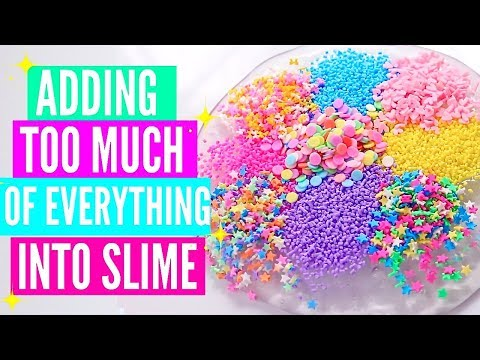 ADDING TOO MUCH INGREDIENTS INTO SLIME + GIVEAWAY! Adding Too Much Of Everything Into SLIME!