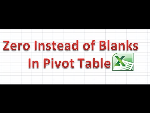 How to put Zero instead of Blank cells in Pivot Table