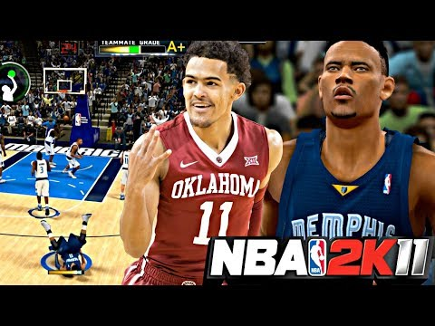 NBA 2K11 MyPLAYER TRAE YOUNG #10 - CRAZY FALLING DOWN 3 POINTER! 1ST KEY GAME AGAINST CHAMPION MAVS!