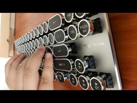 Magicforce 68 Keys Mini Mechanical Keyboard with steampunk typewriter keycaps
