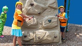 PJ MASKS Disney Gekko Takes Assistant and Batboy Playground Tools Funny Kids Video