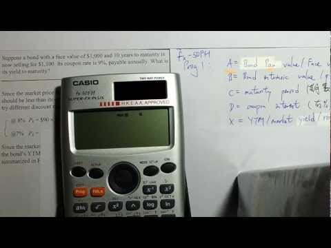 Question of Yield to Maturity (Casio fx-50FH Prog Demo)