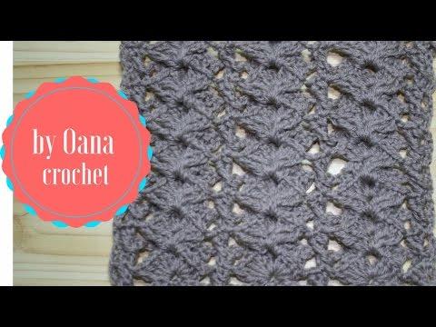 Crochet double shell stitch pattern by Oana
