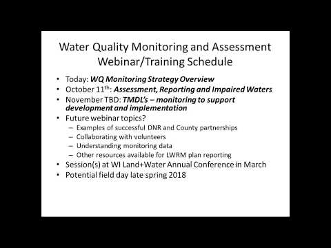 Wisconsin DNR Water Quality Monitoring Strategy Overview (Webinar)