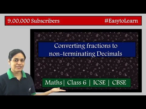 Conversion of fractions to non-terminating decimals