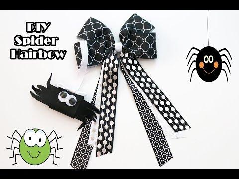 DIY Spider hair bow (spider on web) Spider hairbow tutorial