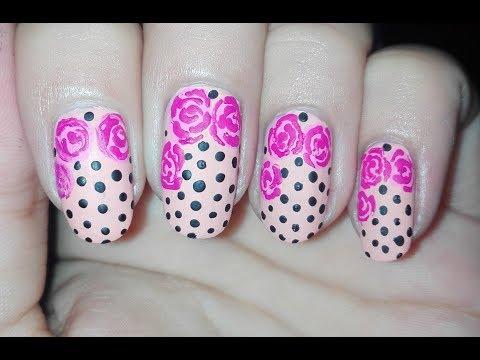 DIY Matte Roses and Polka Dots Nail Art Design using TOOTHPICK (No Tools Nail Art) | Rose Pearl