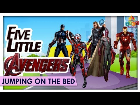 Five Little Avengers Jumping On The Bed - Learn Nursery Rhyme & Songs For Children - Kids Carnival