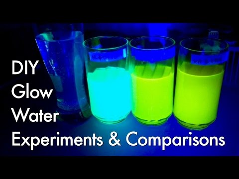 Part 1 Experiments with Fluorescence Glow Water, Polymer Balls & Rubber Eggs