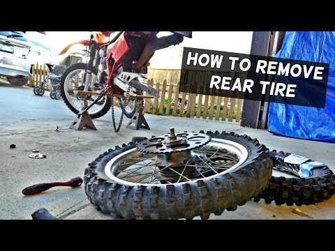 HOW TO REMOVE REAR WHEEL TIRE ON MOTORCYCLE DIRT BIKE