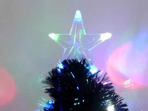 60cm Black Artificial Fibre Optic Christmas Tree With Multi-Coloured LED Lights- Xmas Trees