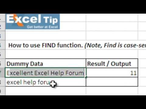 How to use the FIND function in Excel
