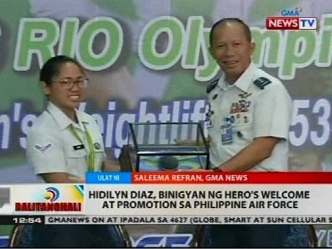 BT: Hidilyn Diaz, binigyan ng hero's welcome at promotion sa Philippine Air Force