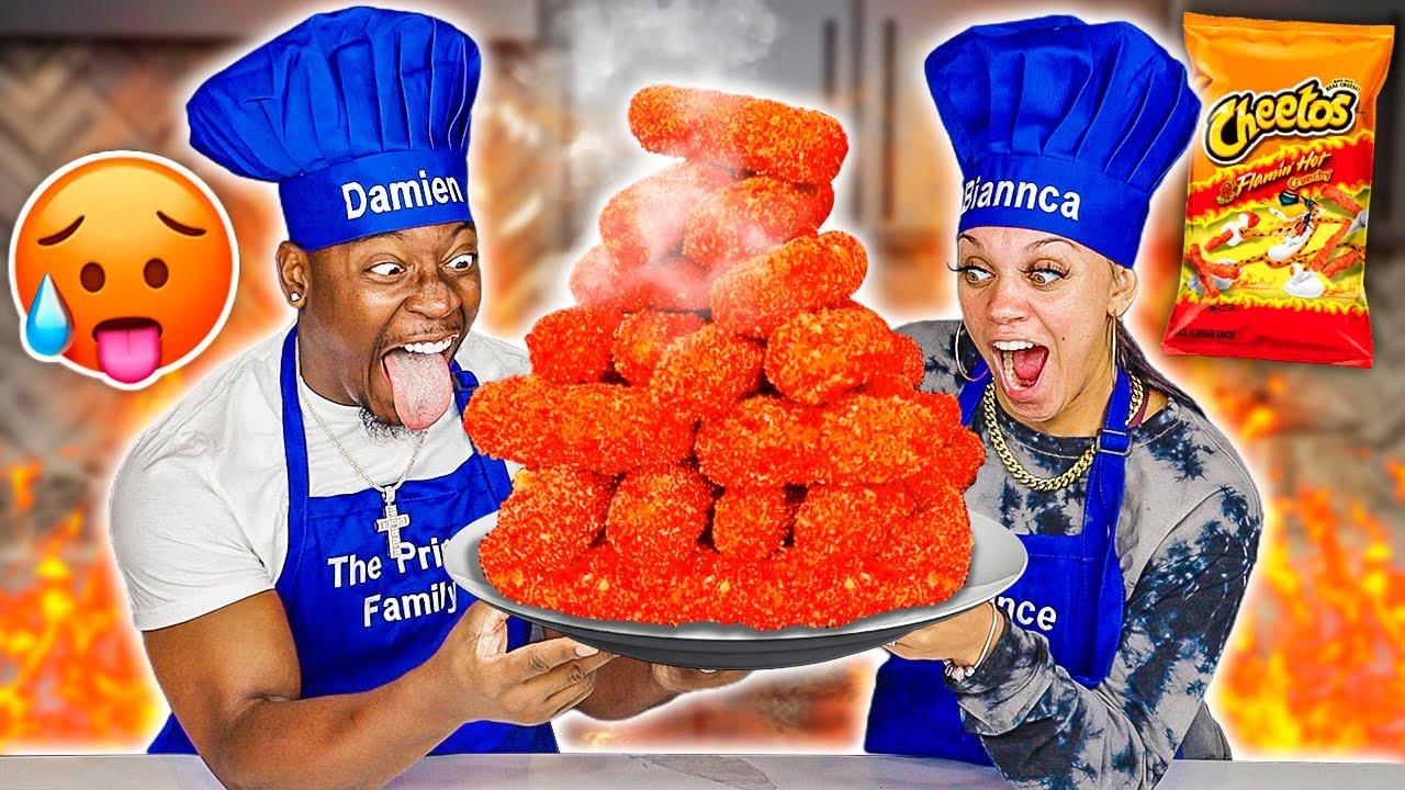 GIANT FLAMIN' HOT CHEETOS MOZZARELLA STICKS | COOKING WITH THE PRINCE FAMILY