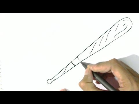 How to draw  a Baseball bat- in easy steps for children. beginners
