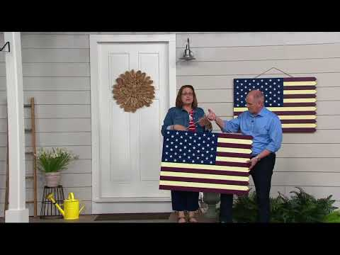 Plow & Hearth Indoor/Outdoor Wooden American Flag Decoration on QVC