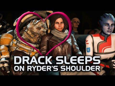 Mass Effect Andromeda - Drack Sleeps on Ryder's Shoulder