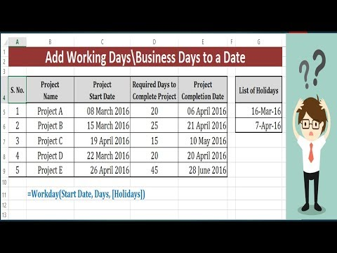 Add Weekdays in a date excluding Weekends - Workday Function to add  Business Days to a Date