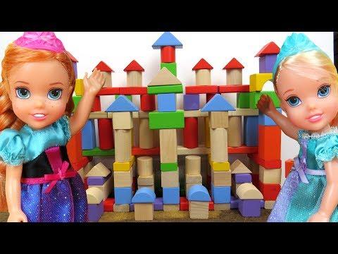 ELSA and ANNA TODDLERS build a Castle ! Sort Building Blocks - Shapes  -  Ruins castle