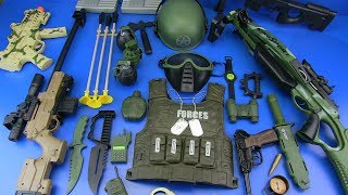 Military Guns Toys & equipment !!! Toys for Kids - Box of Toys !!