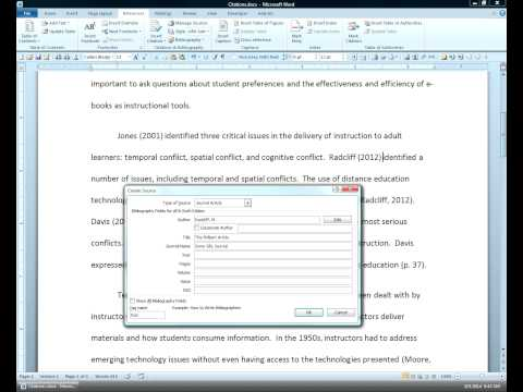 Creating a Source in Microsoft Word