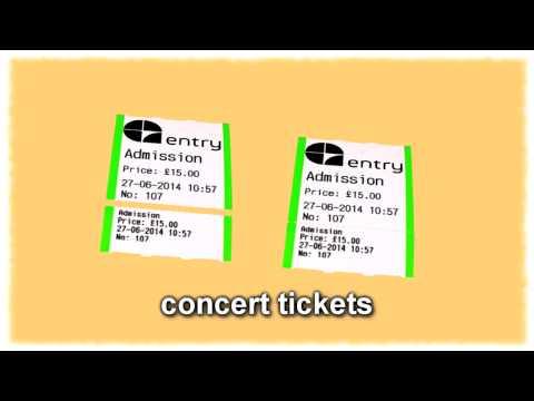 Concert tickets, event tickets, ticket printer