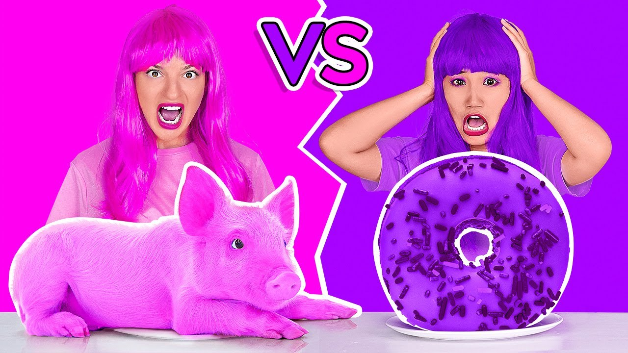 EATING ONLY ONE COLOR FOOD FOR 24 HOURS! Last To STOP Eating Pink VS Purple Food by 123 GO!CHALLENGE