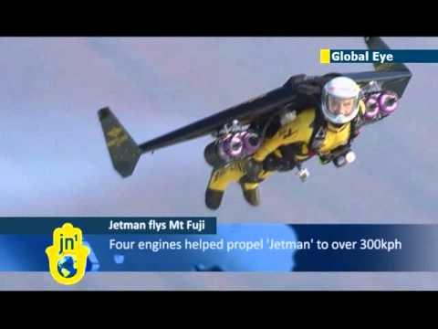 Jetman in Japan: Swiss stuntman Yves Rossy flies over Mount Fuji in custom-built jet suit