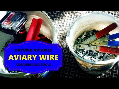HOW TO INSTALL WIRE ON THE BIG AVIARY - Wrapping the conure aviary.  Macaws, Patagonians, Mitreds