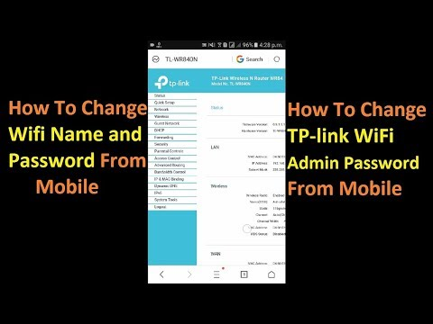 How To Change Wifi Name and Password From Mobile and Change tplink Admin Password