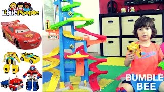 Little People City Skyway - with TRANSFORMERS and DISNEY CARS Lightning McQueen and ELMO