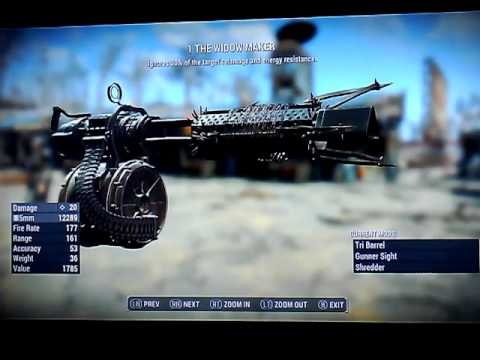 Fallout 4 Legendary Gatling guns Xbox 1 No mods