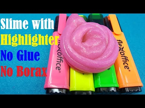 DIY Highlighter SLIME No Glue, No Borax!! ONLY 2 INGREDIENTS Slime with Highlighter