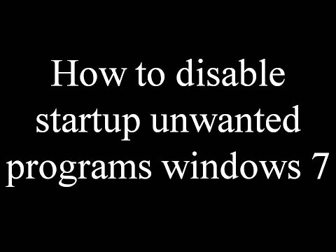 How to disable startup unwanted programs windows 7