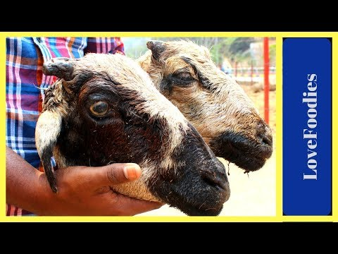 KING of GOAT HEADS Using 2 Goat Heads Fastest Traditional Goat Head Cutting Skills in Village Market