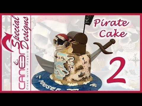 How to make a pirate treasure cake 2/2  | Hand painting the cake