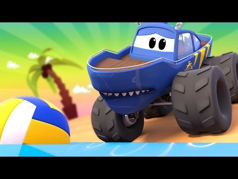 Monster Town - The Racing Car Monster Truck & the Monster Truck SHARK Need to SWIM to Get the Ball !