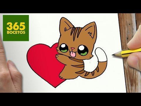 Como Dibujar Gato Y Corazon Kawaii Paso A Paso Dibujos Kawaii
