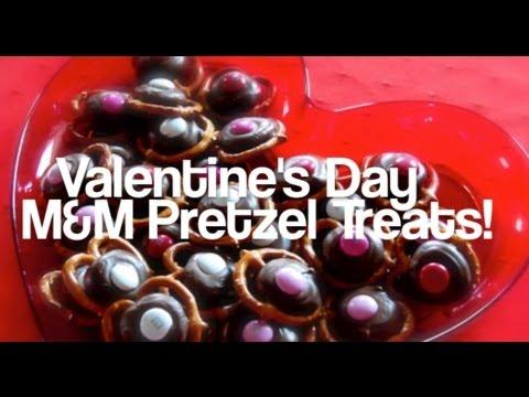 Valentine's Day M&M Pretzel Treats