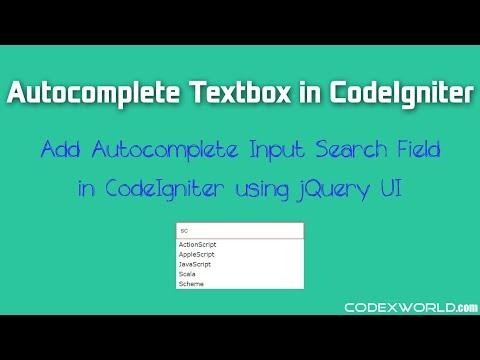 Autocomplete Textbox in CodeIgniter using jQuery UI