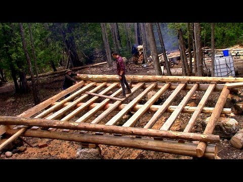 Log Cabin on a Budget- Ep 9- Sill Logs & Floor Joists