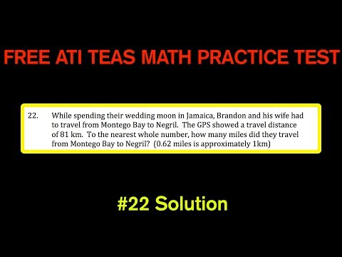 ATI TEAS MATH Number 22 Solution - FREE Math Practice Test - Kilometers and Miles Conversions