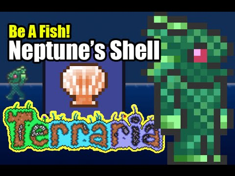 BE A FISH in Terraria with Neptune's Shell - Merfolk - Fishman - Breathe Underwater