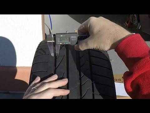 Measuring the Tire Tread Depth on an Aston Martin DB9