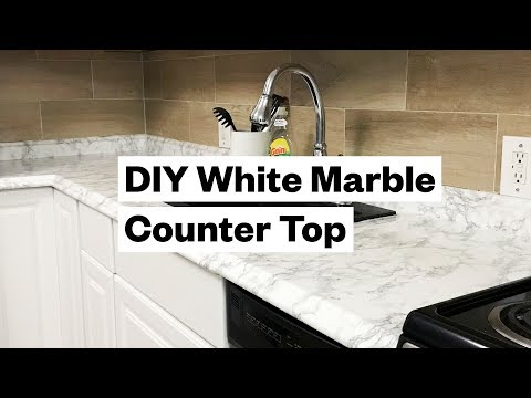 Transform your kitchen for $20 - DIY White Marble Countertop